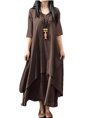 0087cee697f0a Product Image Women's Pleated Hem Half Sleeve Cotton Linen Casual Long Maxi  Dresses