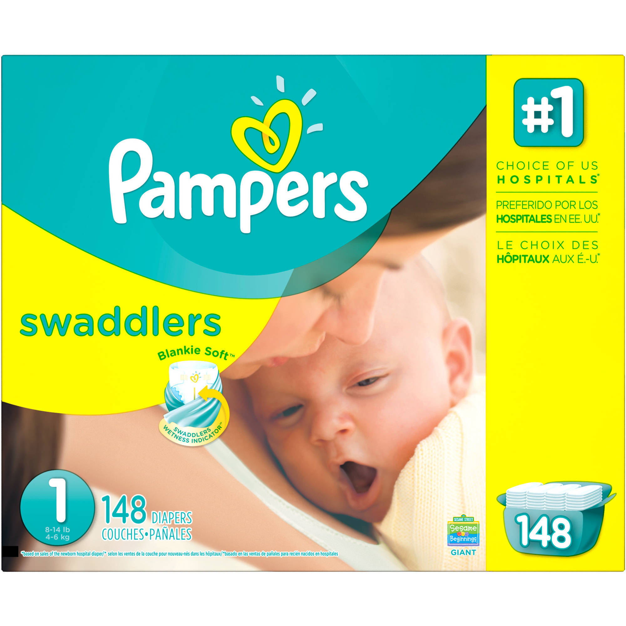 Pampers Swaddlers Diapers, Size 1, 148 Diapers - Walmart.com