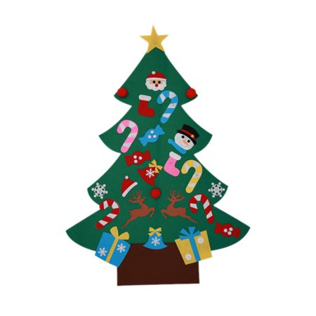 ZEDWELL 3ft DIY Felt Christmas Tree Set with 26 Removable Ornaments Xmas Hand Craft Decorations ()