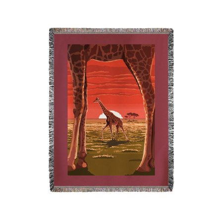 Chenille Giraffe - Giraffe Sunset - Lantern Press Artwork (60x80 Woven Chenille Yarn Blanket)