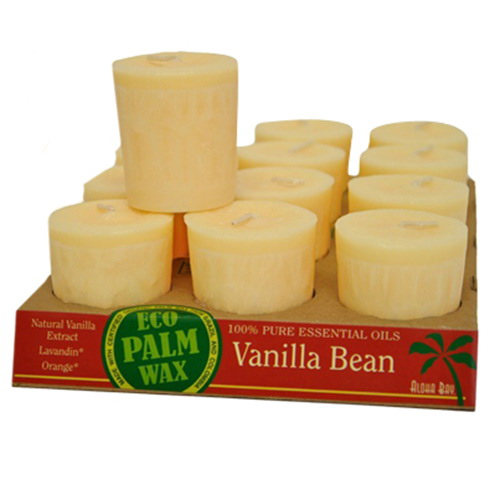 Aloha Bay Eco Palm Wax Votive Candle, Vanilla Bean - 2 Oz, 12 Ea