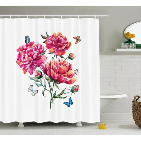 Watercolor Flowers Shower Curtain Vibrant Carnation Bouquet Surreal Spring With Butterfly Buds Fabric