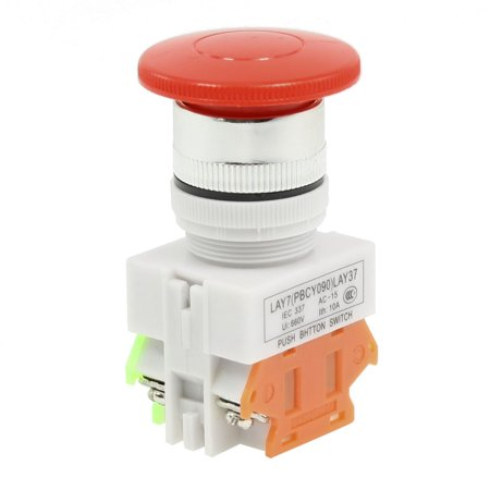 DPST 4 Terminals Mushroom Head Latching Push Button Switch Y090-11M