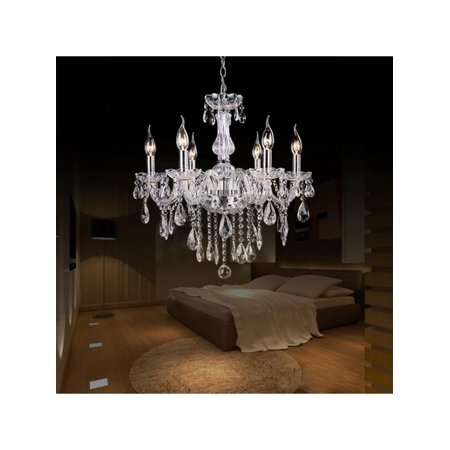 Crystal Lamp Fixture Pendant 6 Lights Ceiling Chain Candle Chandelier