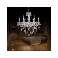 Crystal Lamp Fixture Pendant 6 Lights Ceiling Chain Candle Chandelier smt
