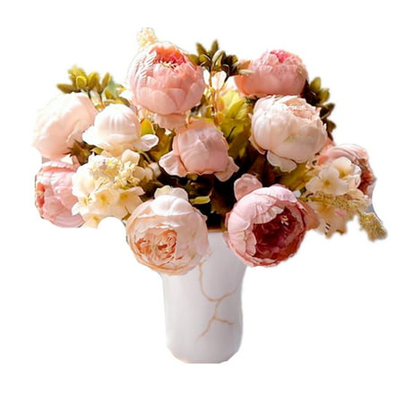 Springs Flowers Artificial Silk Peony Bouquets Home Garden Wedding Party Bridal Bouquet Decor Valentine's Day Decoration - Spring Door Decorations