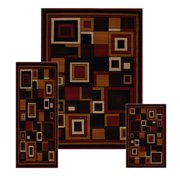 Red Contemporary Modern Geometric Squares 3 PCs Set - Area Rug (5' x 7'), Runner (2' x 8'), Accent Mat (2' x 3')