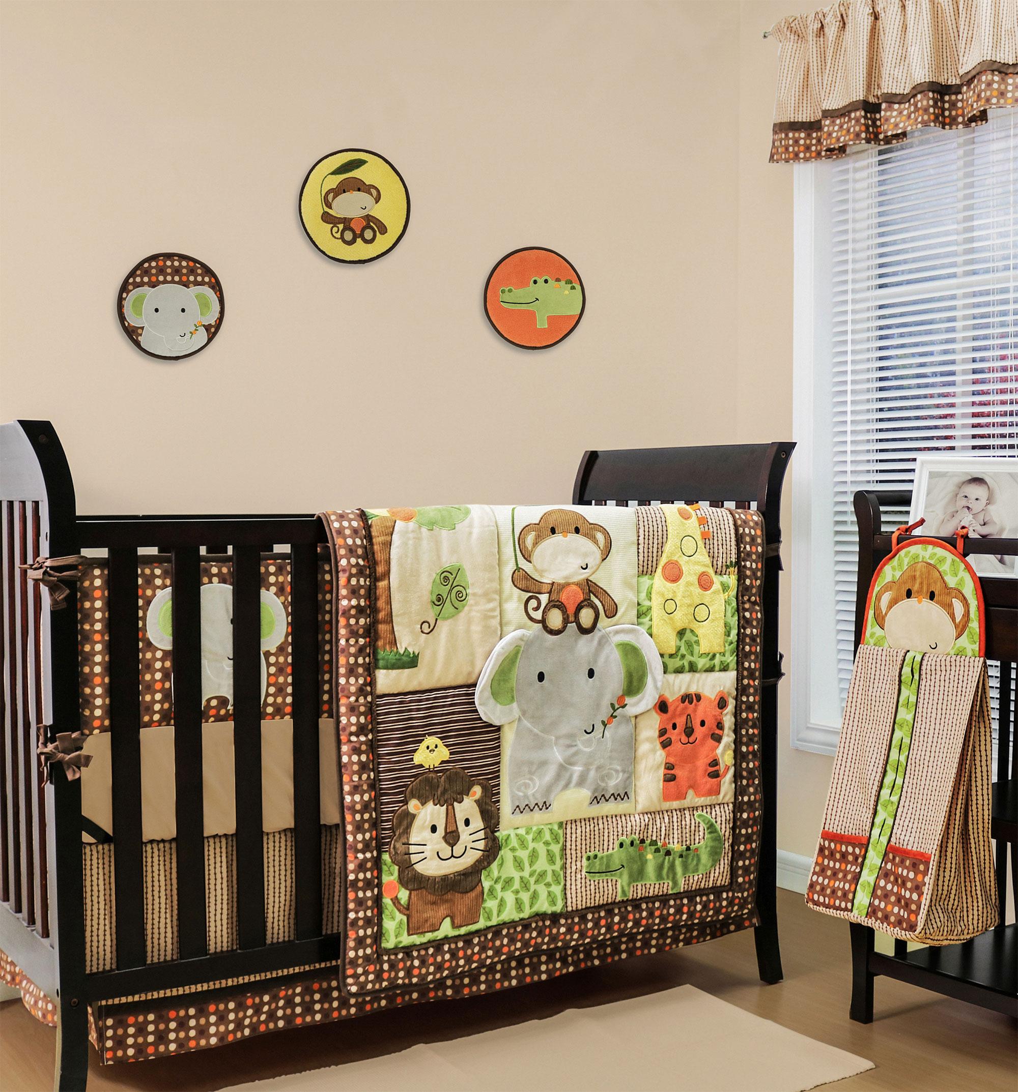 crib bedding set jungle safari theme walk through the zoo 9 baby bedding set