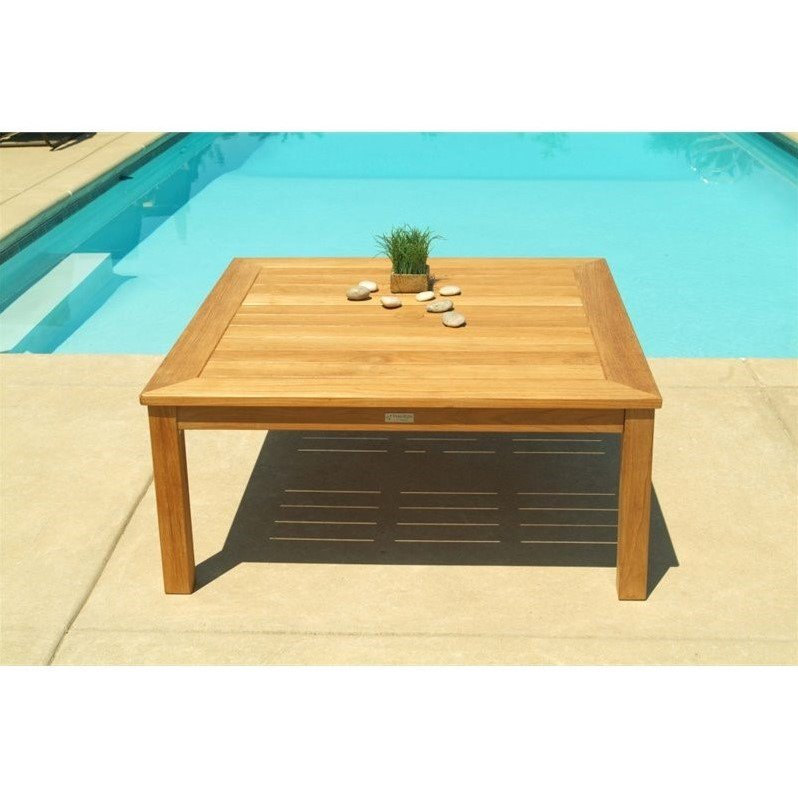 Three Birds Casual Newport Square Patio Coffee Table in Teak