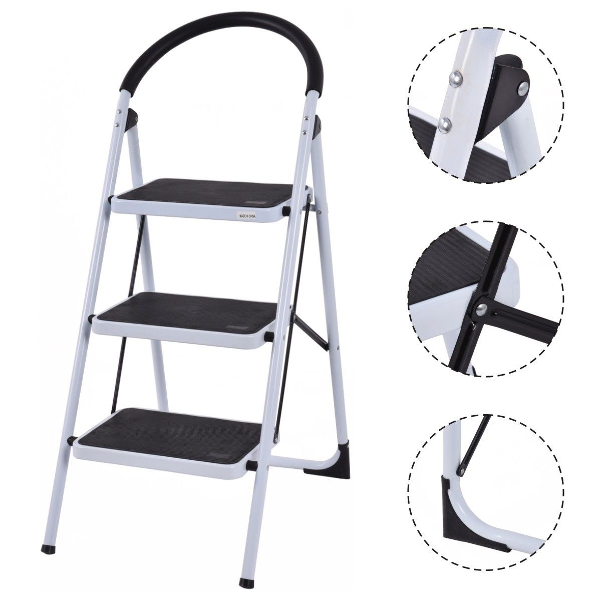 Costway 3 Step Ladder Folding Stool Heavy Duty 330Lbs Capacity Industrial Lightweight by Costway