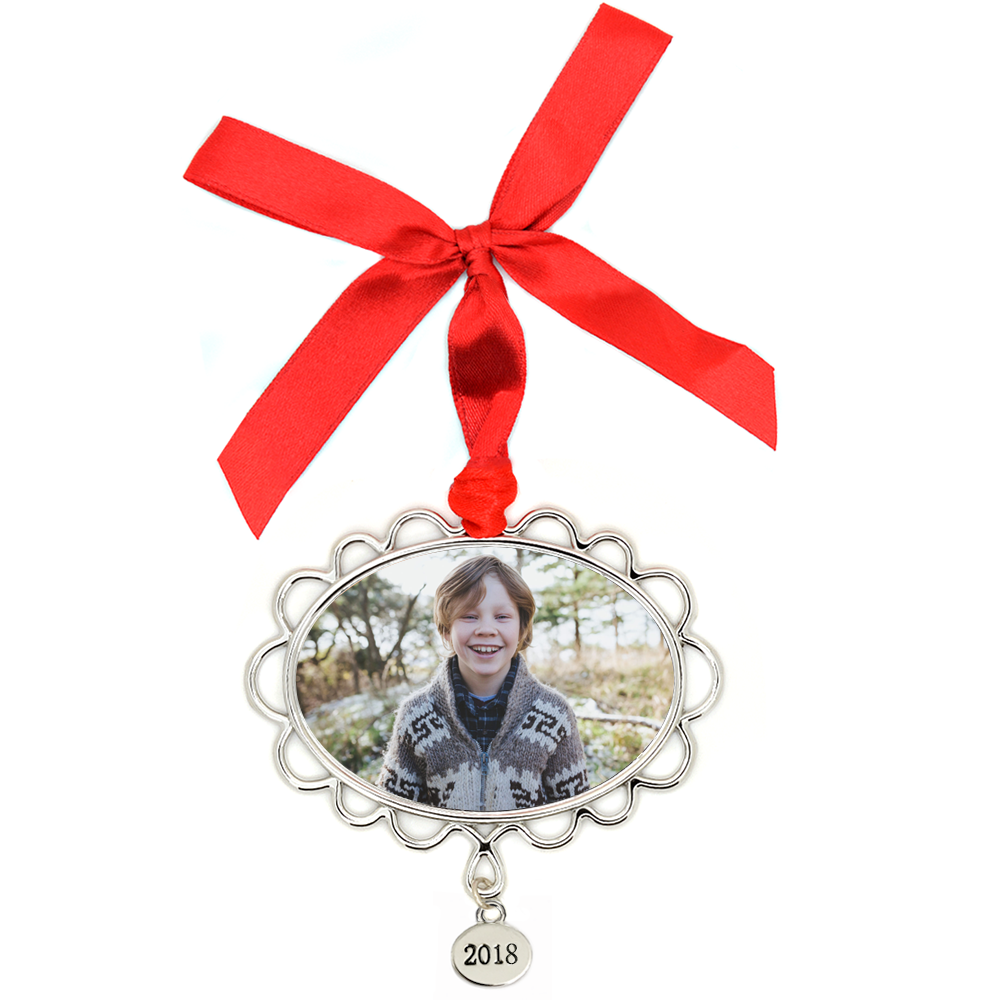 Metal Petal Frame Photo Ornament, with 2018 Tag