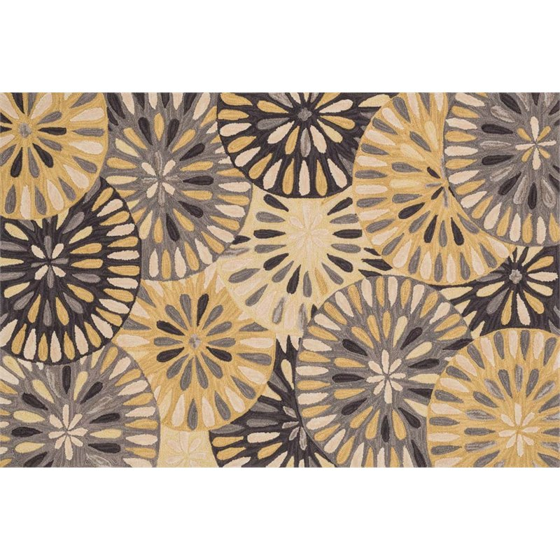 """Loloi Gabriella 3'6"""" x 5'6"""" Hand Hooked Rug in Gray and Gold"""