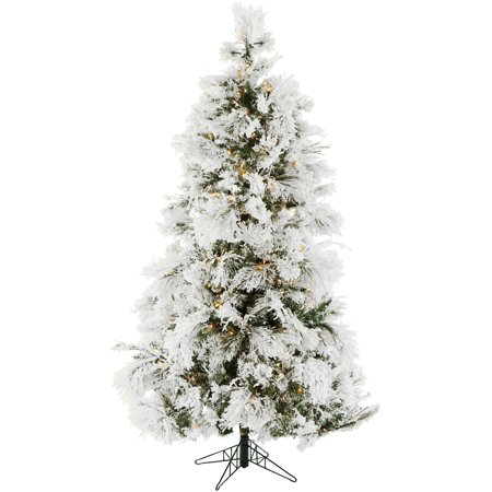 Fraser Hill Farm Pre-Lit 12' Flocked Snowy Pine Artificial Christmas Tree, Clear LED Lighting