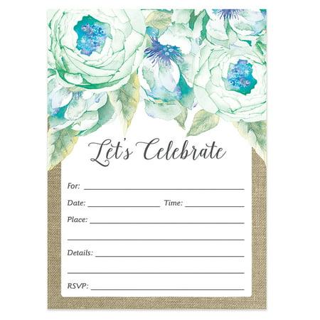 Rustic Bridal Shower Invitations With Envelopes 25 Count Value Pack Let S Celebrate Fl Boho Chic Pastel Blue Flowers Engagement Bachelorette
