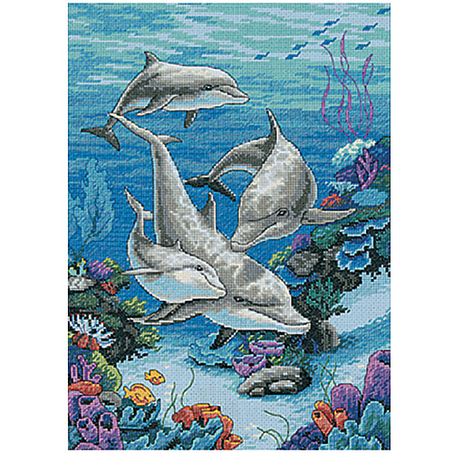 "Dimensions ""The Dolphins' Domain"" Counted Cross Stitch Kit, 10"" x 14"""