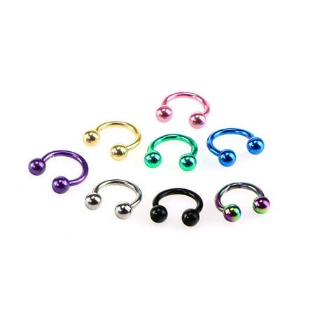 Horseshoe Septum Piercing Nose Lip Ring Stainless Steel Labret Stud Ear Bars Body Piercings Jewelry, Set of 8pcs