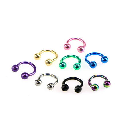 Horseshoe Septum Piercing Nose Lip Ring Stainless Steel Labret Stud Ear Bars Body Piercings Jewelry, Set of 8pcs