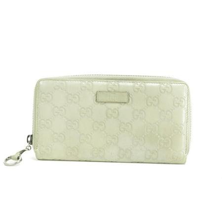 Gucci 21GK0110 Silver-Grey Guccissima Zip Around Long Wallet Zippy Gucci White Wallet