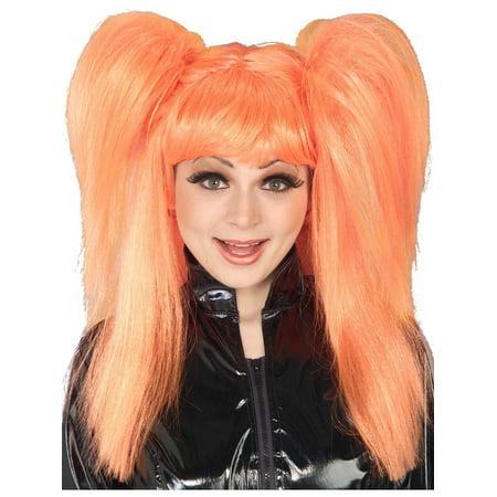 Adult Womens 80s Orange Comic Cutie Big Hair Costume Ponytail - Madonna Ponytail Wig