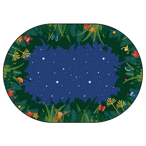 """carpets for kids 6505 printed peaceful tropical night kids oval rug, 5'5"""" x 7'8"""", green"""