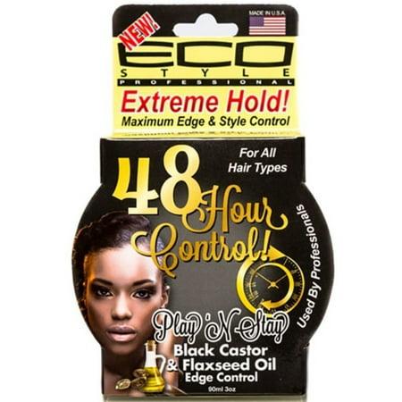 ECO Styler Play 'n Stay Black Castor & Flaxseed Oil Edge Control Gel 3 (Best Eco Styler Gel For Edges)