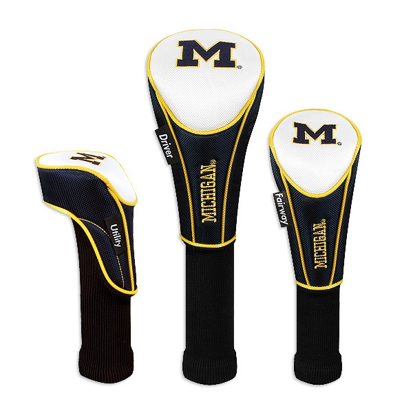 Michigan Wolverines Set of Three Golf Club Nylon Headcovers