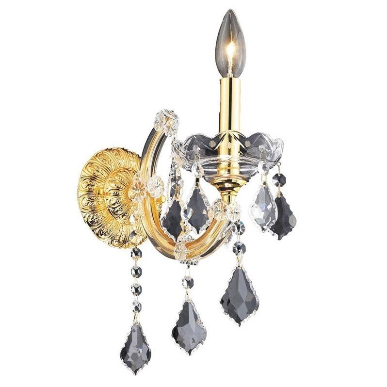 "Elegant Lighting Maria Theresa 12"" Elements Crystal Gold Wall Sconce"