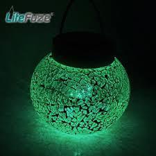 Solar Rechargeable Garden (LiteFuze Mosaic Glass Rechargeable Solar Lamp Outdoor Garden String Light -)