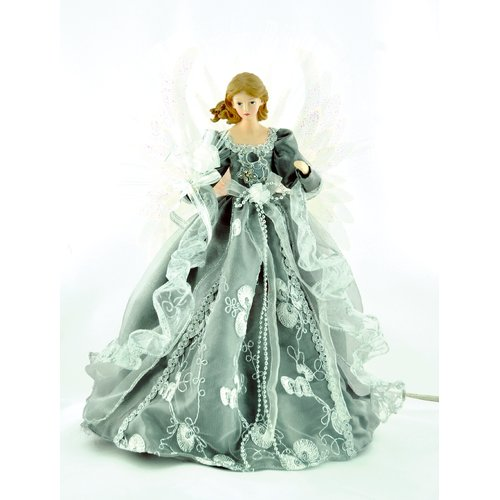 The Holiday Aisle 18'' Silver/Gray Fiber Optic Angel Tree Topper