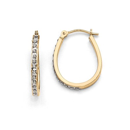 14k Yellow Gold and Rhodium plated Diamond Oval Hinged Hoop Earrings (0.01ct H/SI2)