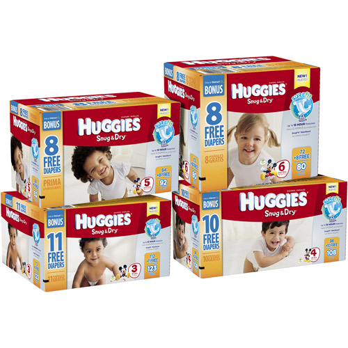 HUGGIES Snug & Dry Diapers with Bonus Diapers (Choose Your Size)