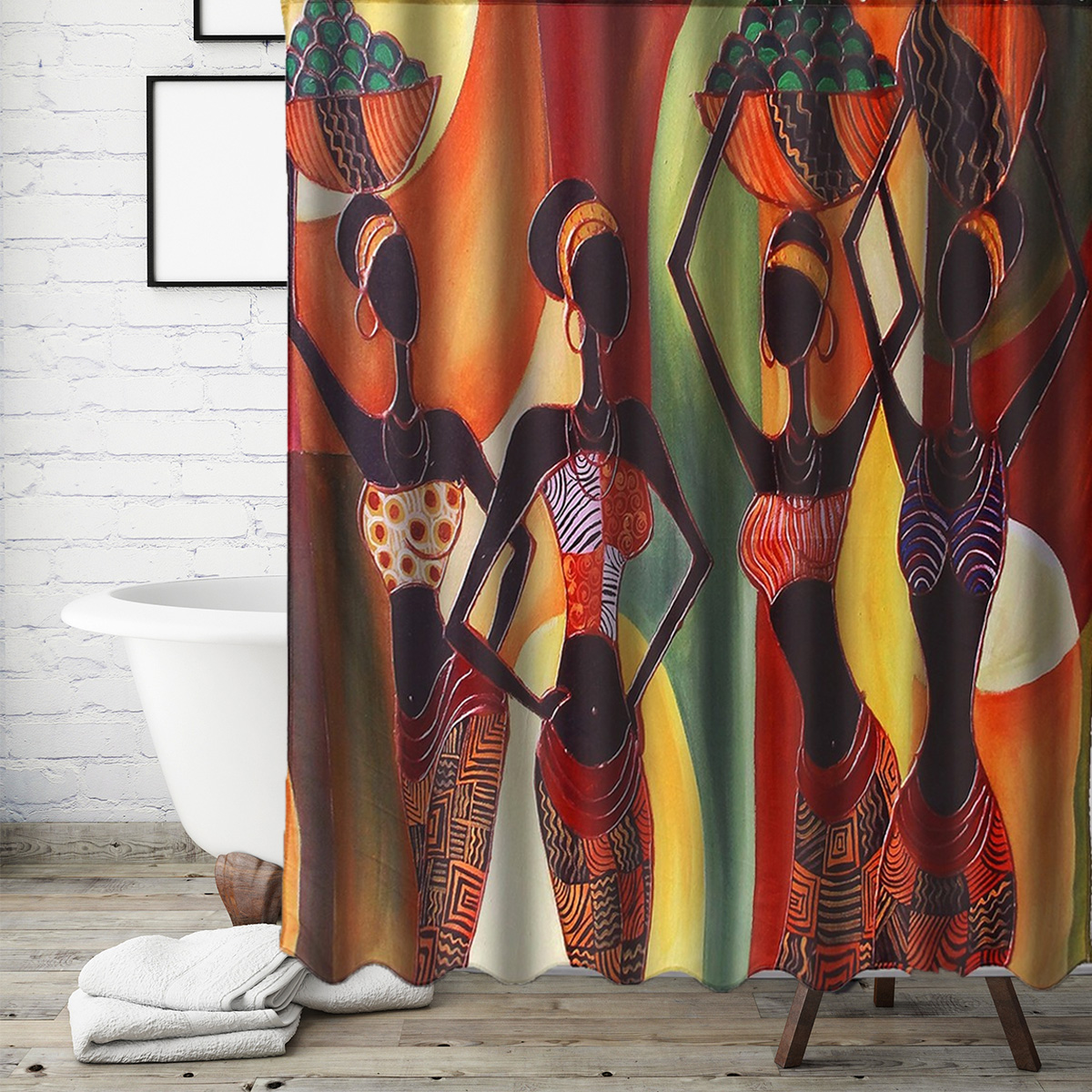72inch Waterproof Fabric Bathroom Mat Shower Curtain Home Decor Set Long Road