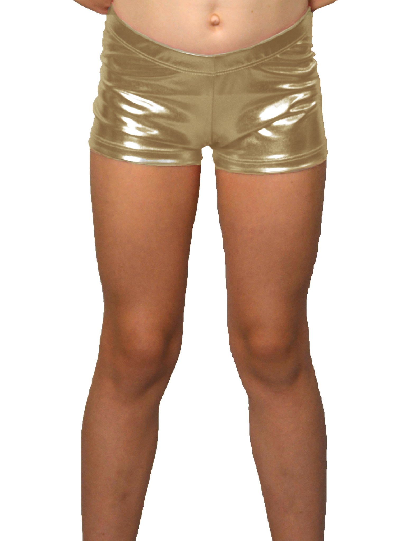 Girl's Foil Metallic Booty Shorts - X Small (4) / Metallic Black