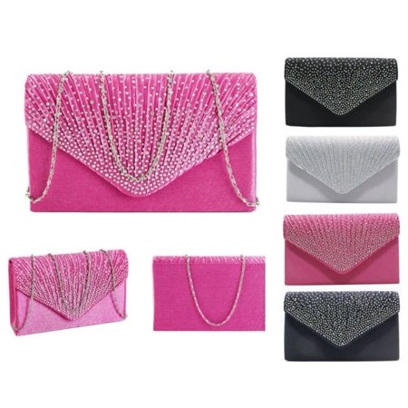 Fashion Women Envelope Bag Party Cocktail Clutch Handbag Soft PU Purse Covered Button Wallet Sling Bags