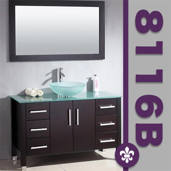 Cambridge Plumbing Inc 8116B-BN 48- inch  Solid Wood Glass Vessel Sink Set with a Brushed Nickel Faucet