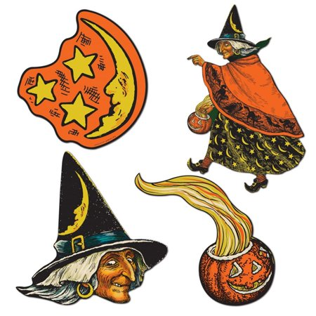 Club Pack of 48 Spooky Pumpkin, Witch Moon and Stars Cutout Halloween Decorations 10.5