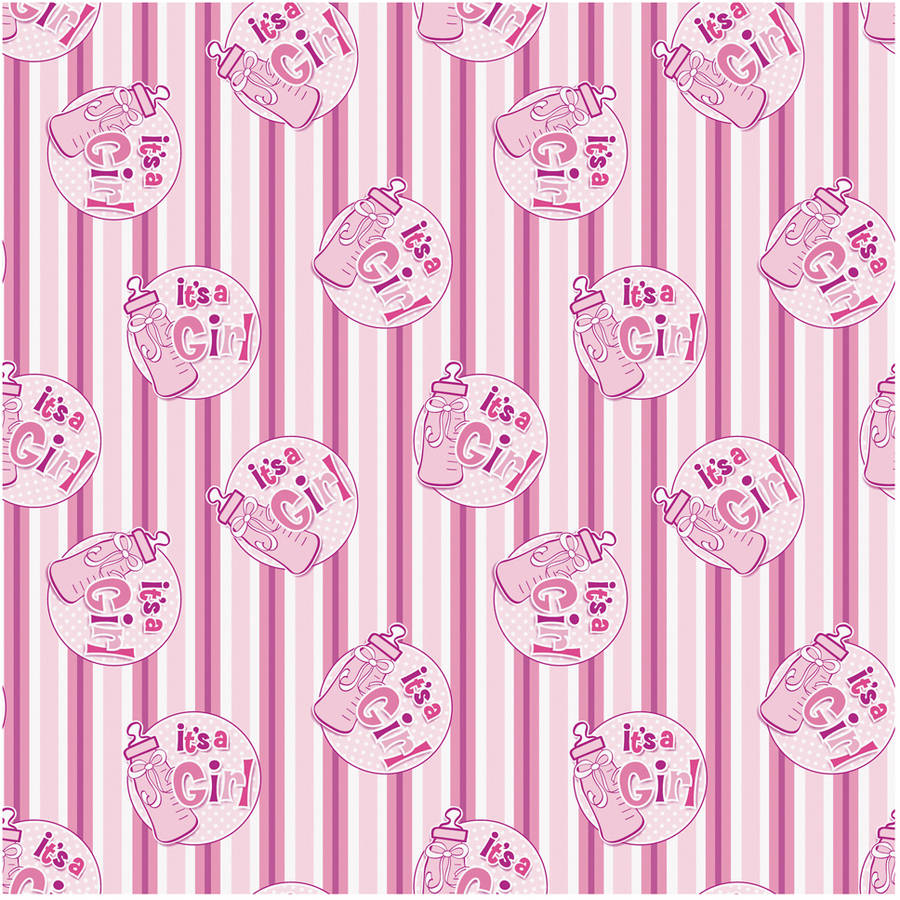 Charming Itu0027s A Girl Baby Shower Wrapping Paper, 5 X 2.5 Ft, Pink, ...
