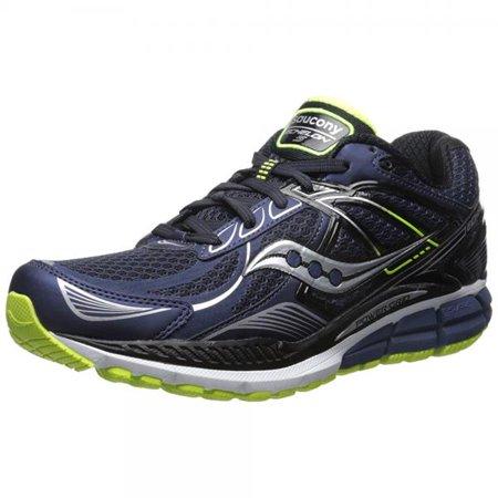 ... saucony men's echelon 5 wide running shoe, navy/black/citron,12 w