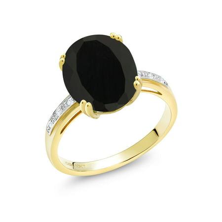 4.04 Ct Oval Black Onyx White Diamond 10K Yellow Gold Ring