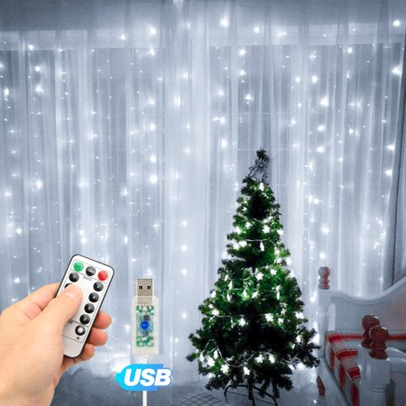 TSV Curtain String Lights,300LEDs 9.8x9.8Ft,USB Powered Fairy Lights,IP67 Waterproof & 8 Modes Twinkle Christmas Lights for Trees Bedroom Wedding Holiday Wall Decor ()