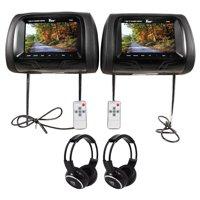 "Pair of Tview T726PL-BK 7"" Black Car Headrest Monitors + 2 Wireless Headphones"