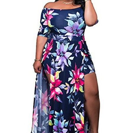- Women's Sexy Off Shoulder High Split Beach Maxi Dress Floral Print Short Overlay Jumpsuit Romper Playsuit