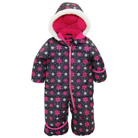 4d5f34437 Pink Platinum Baby Girls One Piece Warm Winter Puffer Snowsuit Pram ...