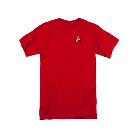Star Trek TV Series Scotty Engineering Uniform Red Adult Tall Fit T-Shirt (Uniforms Star Trek)