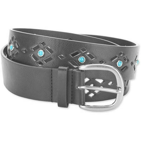 Faded Glory Ladie's Jean Belt with Cutouts and Turquoise