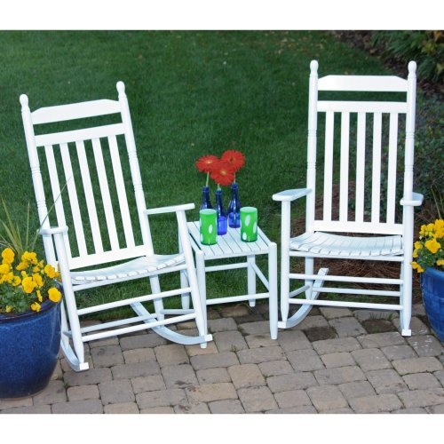 Dixie Seating Company 3 pc. Rocking Chair Set with SideTable - White
