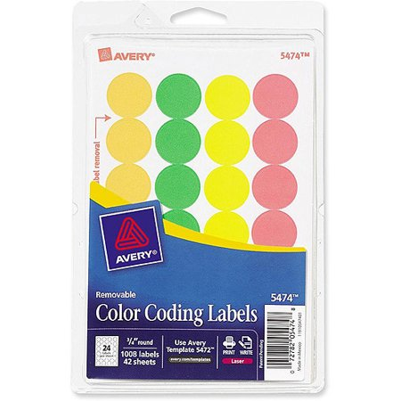 Avery Round Neon Color Coding Labels Walmart