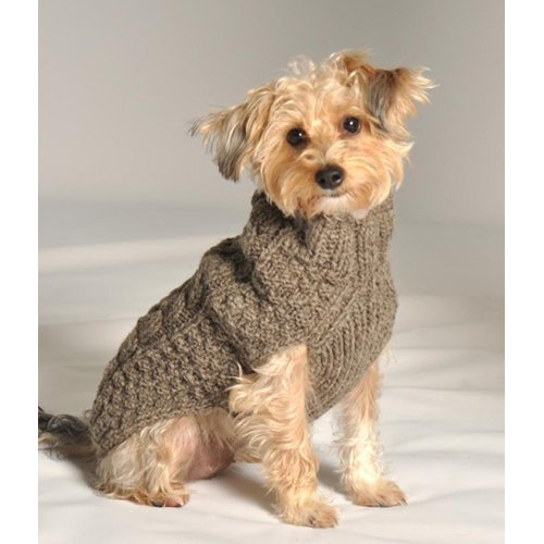 Chilly Dog Grey Cable Dog Sweater