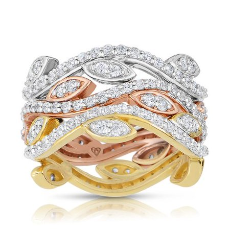 Women's 1-7/8 Carat T.W. Diamond 10kt Tri-Color Stackable Ring Bands