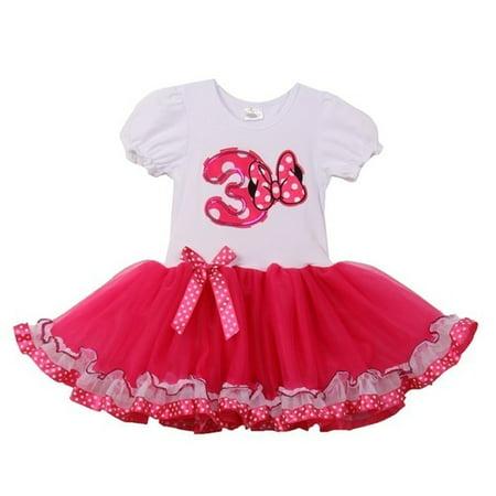 Girls White Fuchsia Minnie Polka Dot Bow Number Tutu Birthday Dress